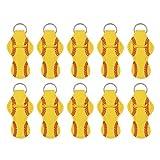 Lurrose 10 Piezas de Soporte de Lápiz Labial de Neopreno Llavero Amarillo Diseño de Béisbol Brillo de Labios Funda de Bálsamo Portátil Llavero Colgante Colgantes