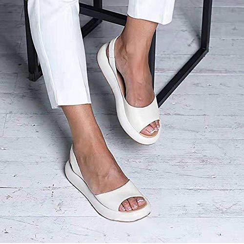 AKQITHJK Women'S Sandals,White Platform Fashion Elastic Band Anti-Slip Women Slippers Soft Comfortable Home High Heels Sandals Outdoor Beach Travel Casual Shoes-38