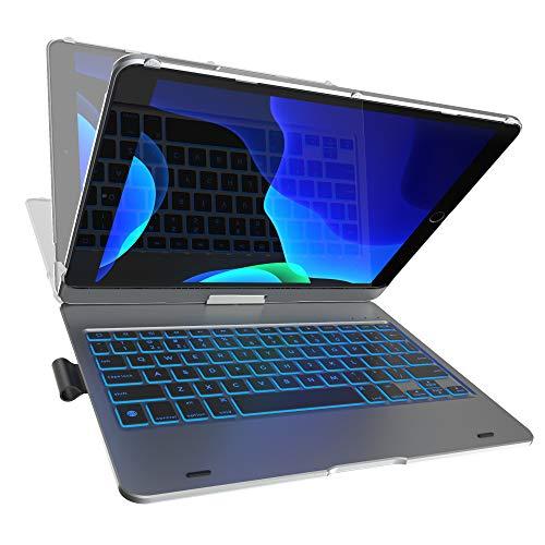 iPad Keyboard Case for iPad 10.2 2019, iPad Air 10.5 2019, iPad Pro 10.5 2017 - Backlit - 360 Rotatable - Wireless - iPad 7th Generation Case with Keyboard - iPad Air 3rd Generation (Space Gray)