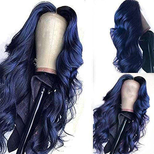 FHKGCD Perruque De Cheveux Humains Avant De Lacet De Couleur Bleu Foncé Pré Plumée Perruque De Cheveux Ondulés Verts Ondulés De Cheveux Remy 8-26 Pouces 13X4, Bleu, 12 Pouces