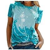 Bilbull Fashion Womens Tie-Dye - Blusa de manga corta con estampado de diente de león, cuello redondo, de algodón y lino con mangas cortas, verde, M