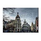 KiarenzaFD Panel de la Lona Lienzo España Gran Via de Madrid Edificio Metropolis Cibeles Muebles 100x70 cm