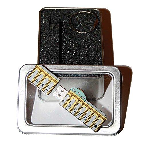 Souvenir Potsdam Sanssouci   Geschenkidee: USB-Stick mit Schlüsselanhänger in Form von Schloss Sanssouci für Frauen u. Männer   inklusive Fotogalerie von Sehenswürdigkeiten in Potsdam & Sanssouci   Memory Stick 2 GB   CultourStix