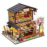 Hearthrousy Maisons de Poupées en Bois Miniature Maison Model Kits DIY Dollhouse Model Kits Cottage avec Lumière LED et Musique Sushi Shop Maison Artisanale Cadeau pour Anniversaire de Noël