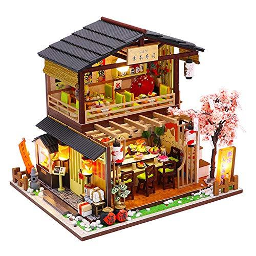 Yoshimoto Sushi - Miniatura para casa de muñecas con muebles, modelo arquitectónico de restaurante japonés, Yoshimoto - Kit para casa de muñecas de madera DIY con luz y música para cabina de bricolaje