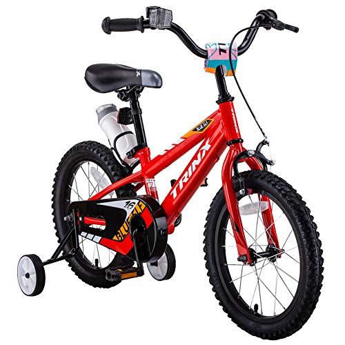 16 inch Kids Bike,Boys Girls Freestyle BMX Bicycle,Toddler Bike,Children Bicicleta Gifts,Strider Bike,Balance or Training Wheels,Fat tire Bike for Kids-Red