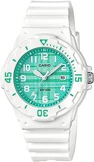 Casio LRW200H-3CV Women's White Resin Band Plaid Green Dial Day Date Watch