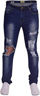 Mens Skinny Jeans Extreme Open Rips Frayed Cutaway Knee Ripped Destroyed Distressed Stretch Denim