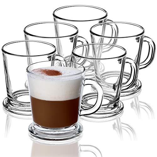 KADAX Teegläser, 6er Set, Gläser mit Griff, Glastassen für 6 Personen, spülmaschinenfest, Trinkgläser für Kaffee, Tee, Wasser, Saft, Drink, Saftgläser, Wassergläser, Gläserset