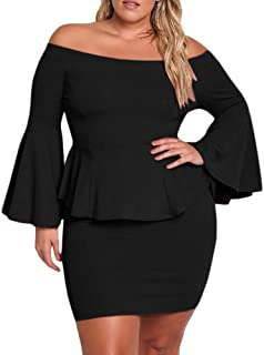1a2f12cf0e Yskkt Womens Plus Size Peplum Dresses Off The Shoulder Short Sleeve Bell  Sleeve Ruched Bodycon Sexy