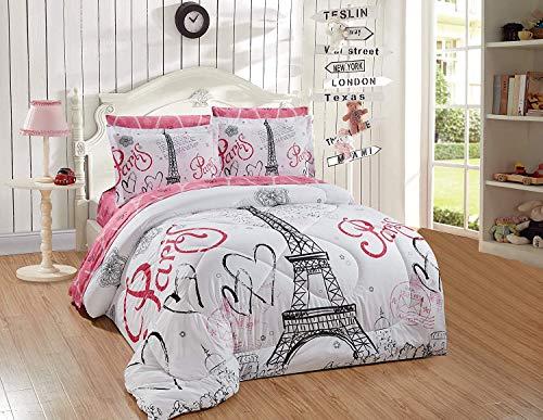 Kids Zone Home Juego de edredón de Lino con diseño de Torre Eiffel, Corazones y Flores para niñas y Adolescentes, Color Blanco, Rosa y Negro
