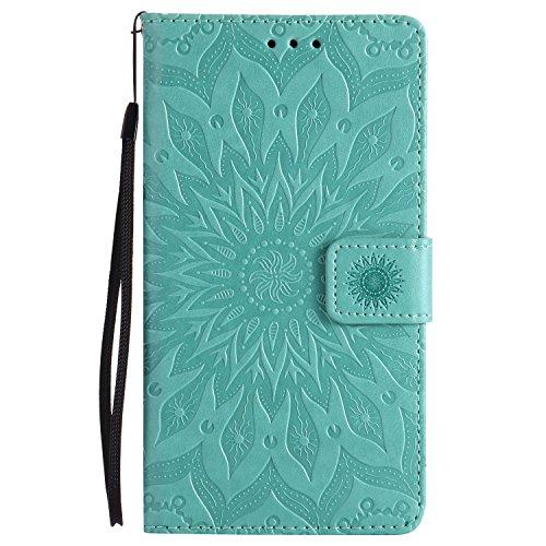 Lomogo LG Stylus 2 Hülle Leder, Schutzhülle Brieftasche mit Kartenfach Klappbar Magnetverschluss Stoßfest Kratzfest Handyhülle Case für LG Stylus2 (K520) - KATU22769 Grün