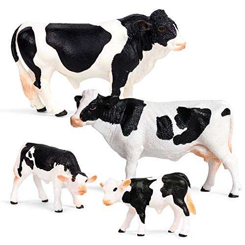 Hibon Simmental Cattle Figurine Simulated Cattle Realistic Plastic Cow Figurines for Collection Science Educational Props  Set of 4 (Black and White)