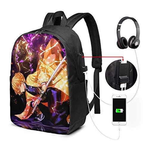 Hot Cartoon 2020 Anime Fan Art Gift-Demon Slayer Kimetsu No Yaiba Best 34+ Anime 17inch Unisex School Bags Travel Backpack USB Laptop Bagpack,Waterproof Lightweight Bookbag Daypack for Boys Girls