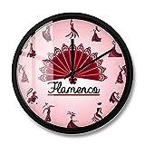 Reloj de Pared con Estampado de Bailarina de Flamenco Sevilla Chica española en Vestido Rojo Reloj de Pared Decorado Reloj de Pared Mudo Reloj de Pared con Marco de Metal-(con Marco)