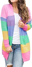 Kaftan For Women,Kulywon Plus Size Womens Patchwork Long Sleeve Rainbow Stripe Cardigan Tops Sweater Coat