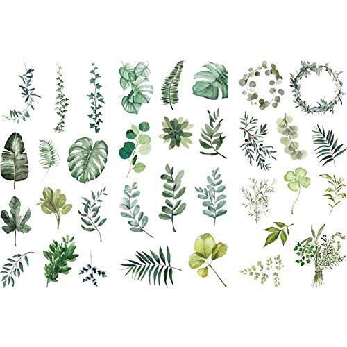 Kanggest. Pegatinas para Diario Hoja Verde y DIY Decoración para Scrapbooking Memo Ornamento Herramienta de Pasta de Material de Ilustración de Libro(3 Hojas)