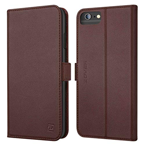 iPhone 8 Plus 7 Plus 6 Plus case ZOVER Genuine Leather Wallet Case with RFID Blocking Kickstand Feature Card Bison Fone Slots ID Holders and Magnetic Clasps Gift Box Dark Brown (Undetachable Version)