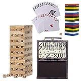 Byoeko Set de 4 Juegos de Mesa (Dominó, 2 Torres de Madera: una pequeña/Otra Mediana Natural y 2 Juegos de Cartas póker)