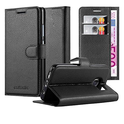 Cadorabo Hülle für Samsung Galaxy S6 Edge in Phantom SCHWARZ - Handyhülle mit Magnetverschluss, Standfunktion & Kartenfach - Hülle Cover Schutzhülle Etui Tasche Book Klapp Style