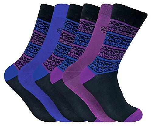 Sock Snob 6 paires chaussettes bambou homme fantaisie dans 5 styles 40-45 eur (Fairisle Blue/Purple)