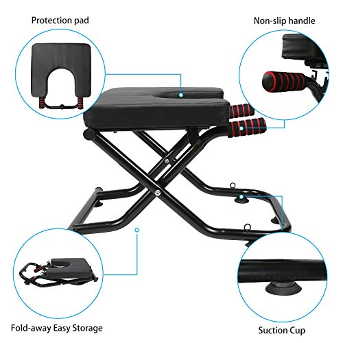 PORLAE Yoga Headstand Bench with Suction Cup, 2-in-1 Yoga Inversion Chair and Exercise Bench, Fitness Stand Yoga Chair for Feet Up Yoga Trainer Leg Stool Workouts for Family, Gym