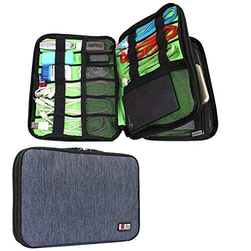BUBM Travel Cable Organizer, Universal Electronic Accessories Bag Gear Storage Bag for Cord, USB Flash Drive, Earphone and More, Perfect Size for iPad Mini (Medium, Dark Blue)