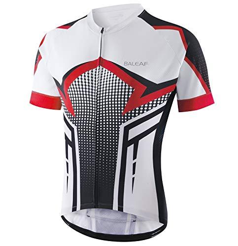 BALEAF Men's Cycling Jersey Mountain Biking Shirts Short Sleeve Tops Clothing Full Zip MTB 4 Pockets Breathable UPF 50+ Red L