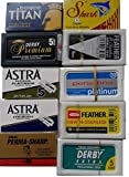 NEW 100 Shaving Safety Razor Double Edge Blades of 10 Top Brands - Feather ASTRA PERSONNA.Sampler Pack