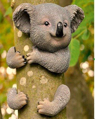 garden mile Novelty Koala Bear Garden Tree Peeker Hugger Statue Resin Animal Ornament Sculptures For Tree Branch Garden Yard Art Fence Outdoor Indoor Weather Resistant Decoration