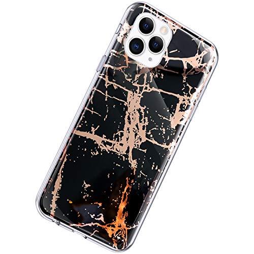 Herbests Kompatibel mit iPhone 11 Pro Hülle Glänzend Glitzer Marmor Muster Schutzhülle Weich Silikon Ultra Dünn Handyhülle Handytasche Durchsichtige Silikon Hülle Case,Marmor Schwarz