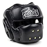 Fairtex HG14 Full Face Headguard Headgear Helmet Boxing Head Guard Thai Boxing K-1 MMA Head Gear Guard Protective Muay Thai (Black, Medium)