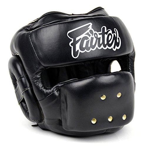 Fairtex HG14 Full Face Headguard Headgear Helmet Boxing Head Guard Thai Boxing K-1 MMA Head Gear Guard Protective Muay Thai (Black, Medium)