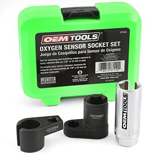 OEMTOOLS 37110 Oxygen Sensor Socket Set, 3 Piece O2 Socket Set, Removes and Installs Oxygen Sensors, 3/8 Inch and 1/2 Inch Drive, 7/8 Inches, Cutaway Slots