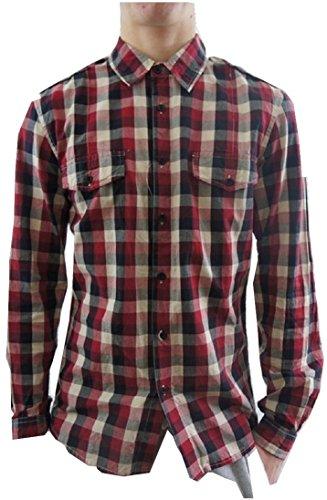 M&P Fashion - Chemise Casual - À Carreaux - Homme - Rouge - Small