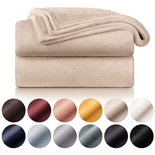 Blumtal - Manta de forro polar 150 x 200 - Cuadros beige - Cuadros de sofá - Cuadros de capullo - Manta de forro polar gruesa, suave, suave y cálida - Alta calidad