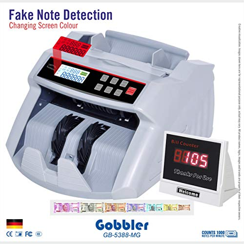 GOBBLER GB5388 Note Counting Machine with Fake Note Detection with Large LCD Display | Counts all New & Old Notes