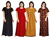 NEGLIGEE Women's Cotton Printed Night Gown Nighty Multi Color Combo Pack of 4 - Free Size