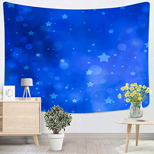 Tapestry Wall Hanging Abstract Bright Blue With Circles And Stars In Sky Blur Blurred Blurry Bokeh Art Chakra Polyester Home Decorations For Bedroom Dorm Decor 50 X 60 Inches 80x60in(150x200in)