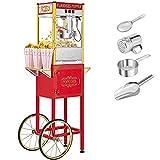 ROVSUN Popcorn Machine w/ Cart & Wheels, 8 Ounce Kettle Popcorn Maker w/ Single Door, Popcorn Scoop, Oil Spoon & 3 Popcorn Cups, 850W, Red