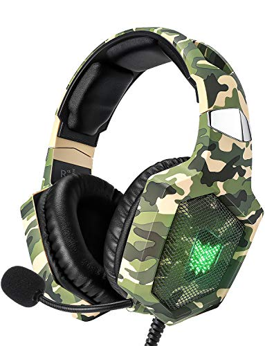 RUNMUS Gaming Headset for PS4, Xbox One, PC Headset w/Surround Sound, Noise Canceling Over Ear Headphones with Mic & LED Light, Compatible with PS5, PS4, Xbox One, Switch, PC, PS3, Mac, Laptop, Green