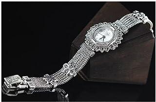 CHXISHOP Reloj de Pulsera de Mujer 925 Joyería de Plata esterlina Retro Dial Redondo Reloj a Prueba de Agua Reloj de Caden...