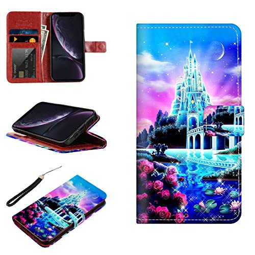 DISNEY COLLECTION Wallet Case iPhone XR Mickey Minnie Mouse at The Castle,Premium PU Leather Wallet Case with Kickstand and Flip Cover for iPhone XR 6.1Inch 2018 Release