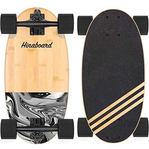 Hi-Na Hinaboard Mini Longboard Tragbares Skateboard Mini Cruiser Skateboard Mini Skateboard Bambus Longboard Crusier Skateboard Kurz Skateboard DIY Skateboard (Milk Ink Cobble)
