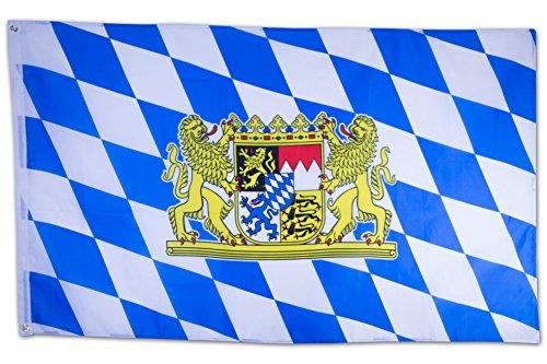 SCAMODA Bundes- und Länderflagge aus wetterfestem Material mit Metallösen (Bayern Löwe) 150x90cm