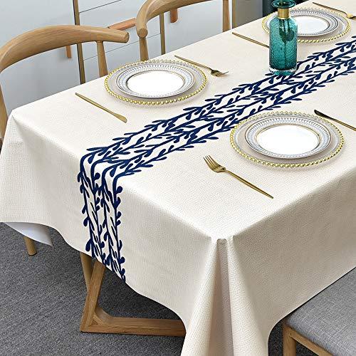 Plenmor PVC Tischdecke Rechteckig für Küche Esstisch Kunststoff Wischtuchreinigung Tischdecke für Indoor Outdoor (137 x 185 cm, Rattan)