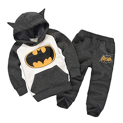 Toddler Little Kids Baby Boys Girls Batman Outfits Set,Long Sleeve Hoodie Sweatsuit Tracksuits Clothing Suit with Pockets Gray
