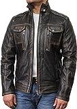BRANDSLOCK Veste en Cuir Homme Vintage Veste de Moto Noire (5XL, Noir)