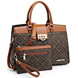 Dasein Women Satchel Purses Handbags Monogrammed Shoulder Bags for Lady Work Tote Bags with Matching Clutch (Monogrammed Coffee)