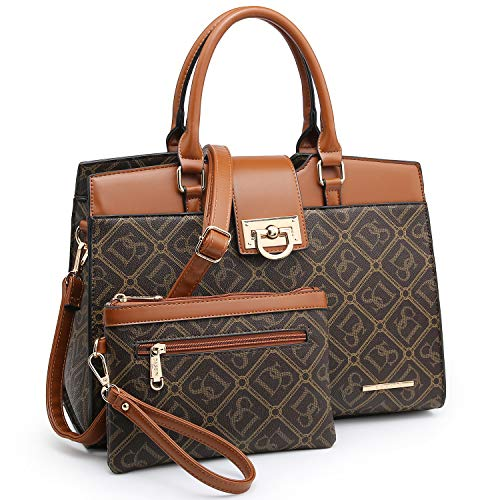 Dasein Women Satchel Purses Handbags Monogrammed Shoulder Bags for Lady Work Tote Bags with Matching Clutch (DS monogram coffee)